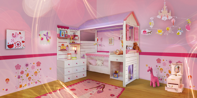 D co chambre fille princesse for Belle chambre de fille